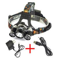 Boruit RJ-5001 4-Modes 5000 Lumen Bike Lamp 3*CREE XM- L2 LED 18650 Headlamp Bicycle Head + AC Charger+USB cable