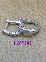 2015 Fashion Accessories Fashion Square CZ  Hoop Huggie Earrings 18K White Gold Solid Filled Earrings  for Women Wedding Gift