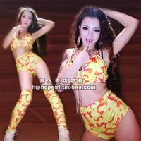 Ds costume 2ne1 Camouflage colorful dj victoria female singer twirled clothing