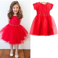Baby Kids Girls Skirt Red Princess Lovely Short Tulle Party Fancy Mini Dress 2-7