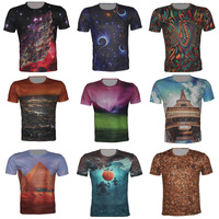 The stars/night/colour/tower/universe Men's 3D Creative T Shirt,A39,New Fashion Funny Slim T Shirts Tops,S-6XL