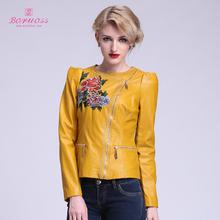 Boruoss 2015 Spring&Autumn Flower Coat for Women Yellow Faux Leather Jacket Short Causal Jacket Free shipping Boruoss W1524(China (Mainland))