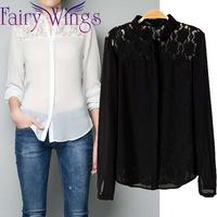 Blusas Femininas Women Elegant Lace Chiffon Long Sleeve OL Loose Women Blouses Shirt Casual Loose 2015 Spring Tops PH3013