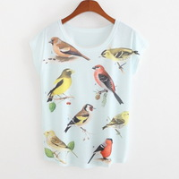 new arrival  summer 2015 women's short sleeve T-shirt Digital printing loose big yards lovely birds