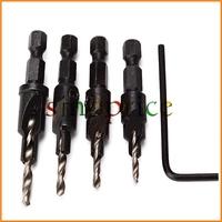 "4pcs HSS Countersink Drill Bit Screw #6 #8 #10 #12 Quick Change 1/4"" Hex Shank Free Shipping"