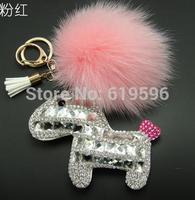 PU Leather horse keychain Rhinestone high quality bag pandent accessories