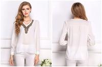 New 2015 Women Diamond Chiffon Shirt Tops Long Sleeves Shirt Blouse Casual Women Blouse Cheap Cloth Free Shipping plus size