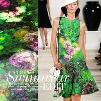 Beautiful Floral Digital Print Green Stretch Silk(93%) Satin Fabric 19Mommie  108CM*100CM