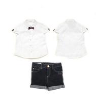 Wholesale Girl Baby Summer 2pcs Clothing Sets Students School Uniform White Shirt +Denim Jeans Shorts