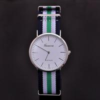 Geneva Men simple Nylon Fabric Canvas Sports quartz Watches Super Thin Women Dress Military Wristwatches relogio masculino