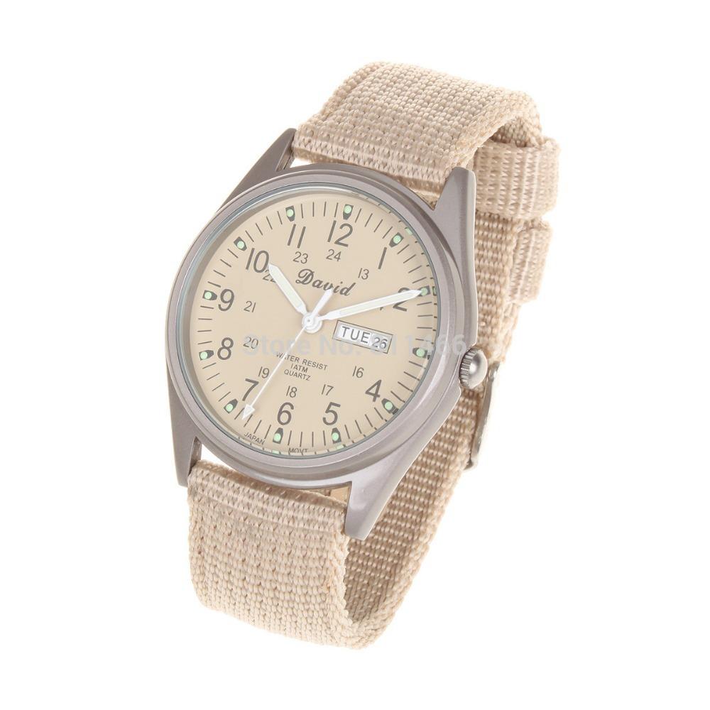 Men Military Glow Dark Water Resistant Quartz Wrist Watch Beige Strap Night Light  Fabric stainless steel + canvas watchband (China (Mainland))