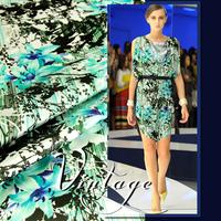 2015 Fashion European Style Lily Digital Print Stretch Silk(93%) Satin Fabric 19Mommie  118CM*100CM