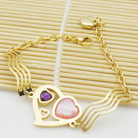 Best Gift For Her Bracelet Heart Jewelry goldplated  stainless steel lady women free shipping