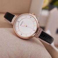 2014 New Luxury Brand Women Dress Rhinestone Watches fashion casual quartz diamond Thin leather strap high quality wristwatches