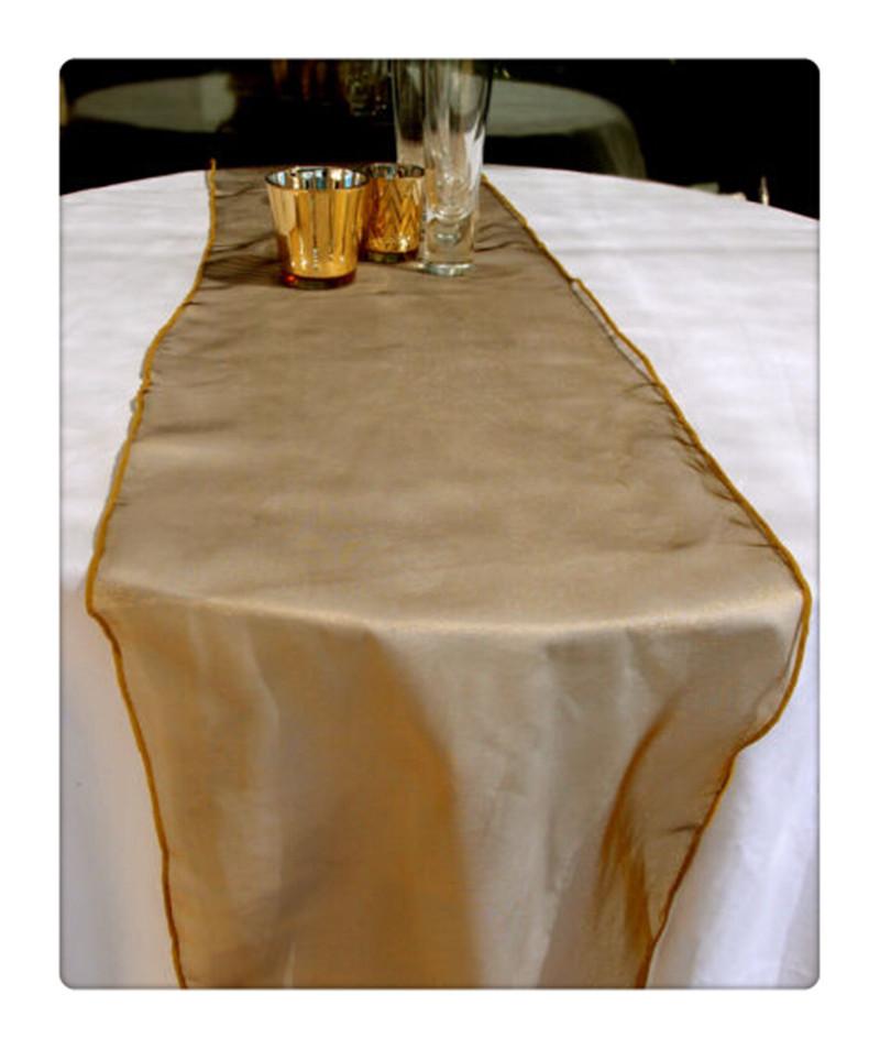 12pcs atacado Organza gold Table Runner for weddings(China (Mainland))