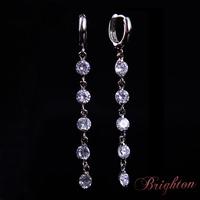 Women Fashion Shiny Crystal Drop Earrings Statement Long Pendant Dangle Earrings Silver&Gold Plated Earrings Jewelry