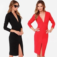 European Style women's Black/Red Cotton+Ployester Long Sleeve Dresses Deep V-Neck Sexy Party Dress Free Shipping 2015Spring