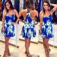 Women Blue Print Dress Sleeveless Party Dress Plus Size Vestidos Femininos Sexy V-Neck Spaghetti Strap Dresses Tropical Summer
