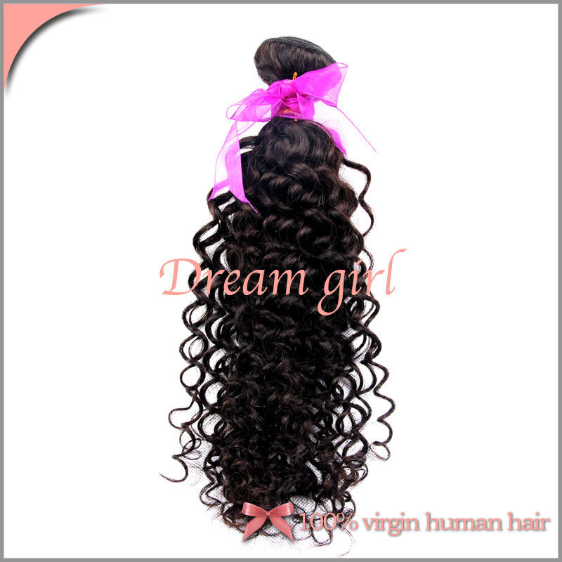 Human Hair Weave Unprocessed Virgin Chinese Hair Kinky Curly Natural Color Cheap Can Bleached Free Shipping 3pcs Virgin Hair(China (Mainland))