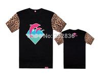 2015 New leopard leather sleeve t-shirt Pink dolphin mens short t shirt cheap fashion cotton t shirts for men S-XXXL wholesale