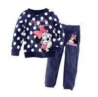 New  Habitat summer clothing / girl Minnie long-sleeved pullover + 100% quality 2T-7TcrianCas  children's sleepwear /