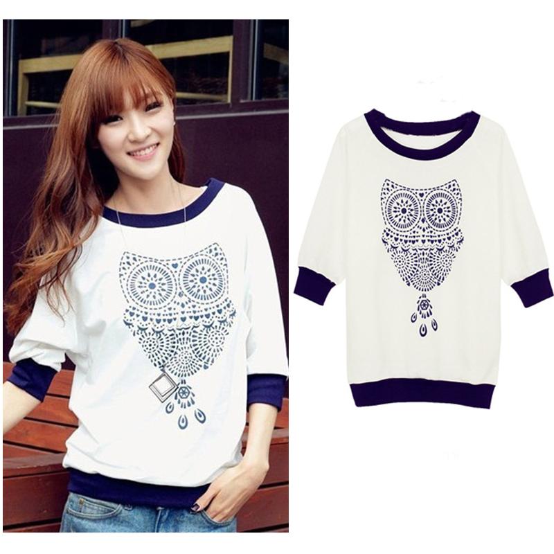 Spring New 2015 Cute Owl Animal Print Tracksuits Half Batwing Sleeve Sweatshirt T Shirt Beading Hoodies Hoody Women Clothing(China (Mainland))