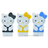 3D bowknot kitty cat lovely model colorful soft silicon back cover cartoon phone case for iphone 5 5s YC158