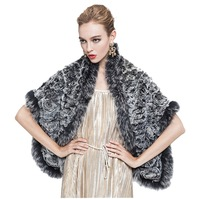 Knit Rex Rabbit Fur Wrap / Shawl
