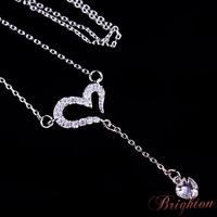 Fashion Jewelry Brand Design Silver Plated Heart Shaped Crystal Pendant Korea Style Shiny Created Diamond Charm Women Necklace