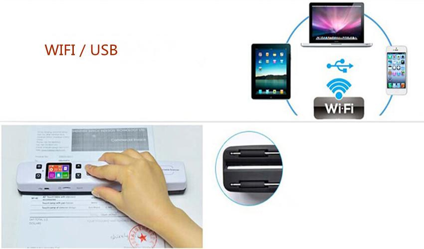High Quality Portable handheld WIFI mini wireless barcode pen photo document scanner a4 HD 1050DPI lector codigo de barras(China (Mainland))