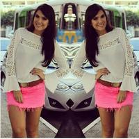 2015 new round neck long-sleeved white lace hollow loose shirts blouse women's fashion renda blusas free shipping