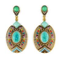Bohemian vintage crystal Drop earrings oval shaped Alloy Hollow blue big earring for women Fashion statement jewelry ER-020258