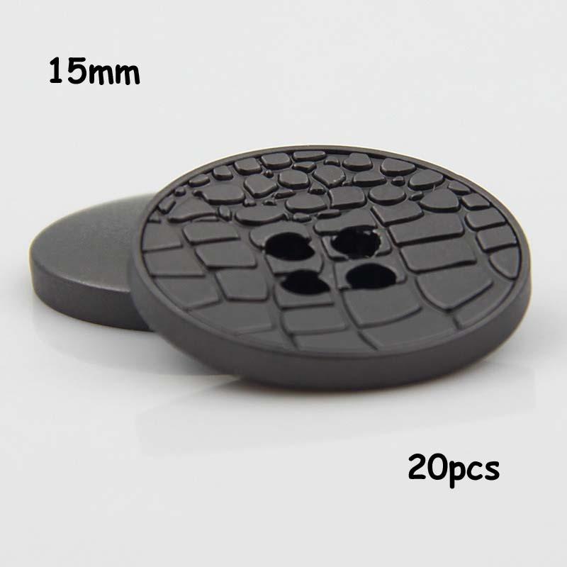 Metallic Black Texture 20pcs 15mm 4 Holes Matte Leather Texture Metal Buttons Suit Coat Buttons