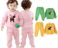 (4pcs/lot) 100% Cotton Kids' Sport Suit Set Long Sleeve Children Hoodies+Pants Newborn Baby 2pcs Clothing Set For Girls DA617