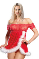 Fashion Women's Split Sexy Lingerie Cleavage Sleepwear Red White Patchwork Nightwear Lace Nightgown G-string Chemises Babydoll
