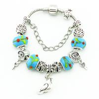 Fashion Women  Glass Bead Bracelets DIY Handmade Jewelry Vintage Style  Silver Bracelets & Bangles