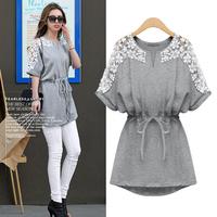 New Summer Women Dress Plus Size Casual Patchwork Lace Batwing Sleeve Appliques Dress Vintage Roupas Femininas Vestidos 8919