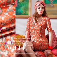 Geometry Printed Orange Stretch Silk(93%) Satin Fabric 19Mommie  118CM*100CM