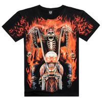 Free Shipping Top Sale Of 2015 New Style Men's T-Shirt,3D T-Shirt,   XXXL Casual Men's Wear Fire Skull One-Neck T Shirt