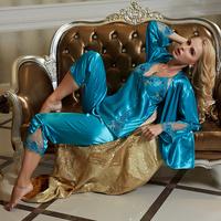 pajamas set for women new 2015 gold sexy satin home clothing sleep lounge pijama women pyjamas pajama set sleepwear nightgown