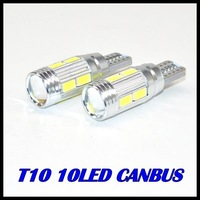 Free Shipping 6PCS T10 led 10 SMD 5630 5730 Chip Car CANBUS NO OBC ERROR LED Lens Indicator Wedge Dome Light Bulb Lamp parking