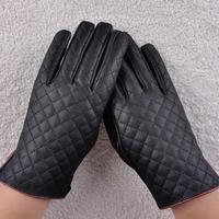 Black Womens Ladies Faux Leather Gloves Girls Lattice Plaids Gloves Mittens Mitt
