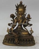 "9"" Tibet Buddhism Copper Seat Green Tara Mahayana Buddhism enlightenment Statue"