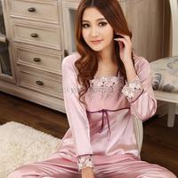 Women Floral Bow Pajama Long Sleeve Sleepwear Cozy Silk Satin Nightwear 2 PC Set
