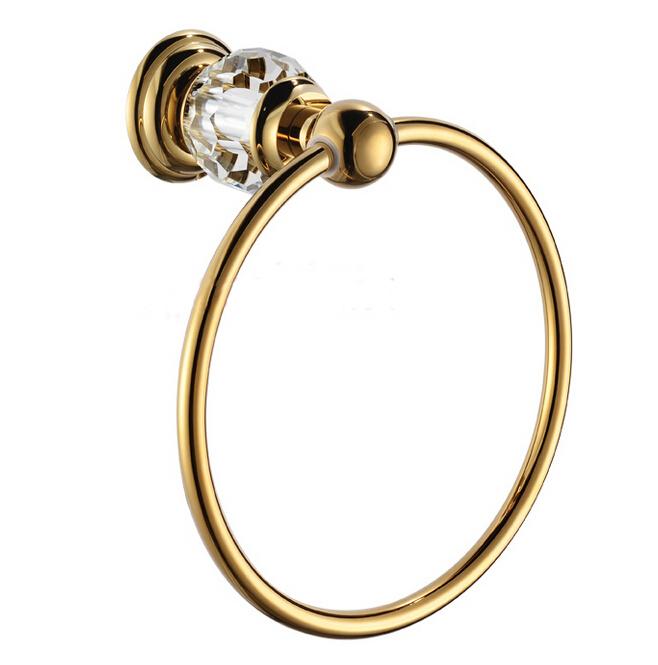 Free Shipping Crystal & Brass Gold Towel Ring,Towel Holder, Towel Bar CY005(China (Mainland))