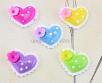 120pcs big Resin kawaii love heart polka dots Deco cabochons Flatbacks 35mm mixed colors