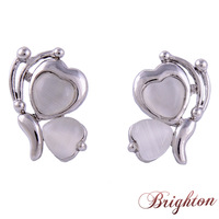 2015 New Fashion Romantic Heart Shape Gold\Silver Plated Alloy Stud Earrings Jewelry for Women Girls