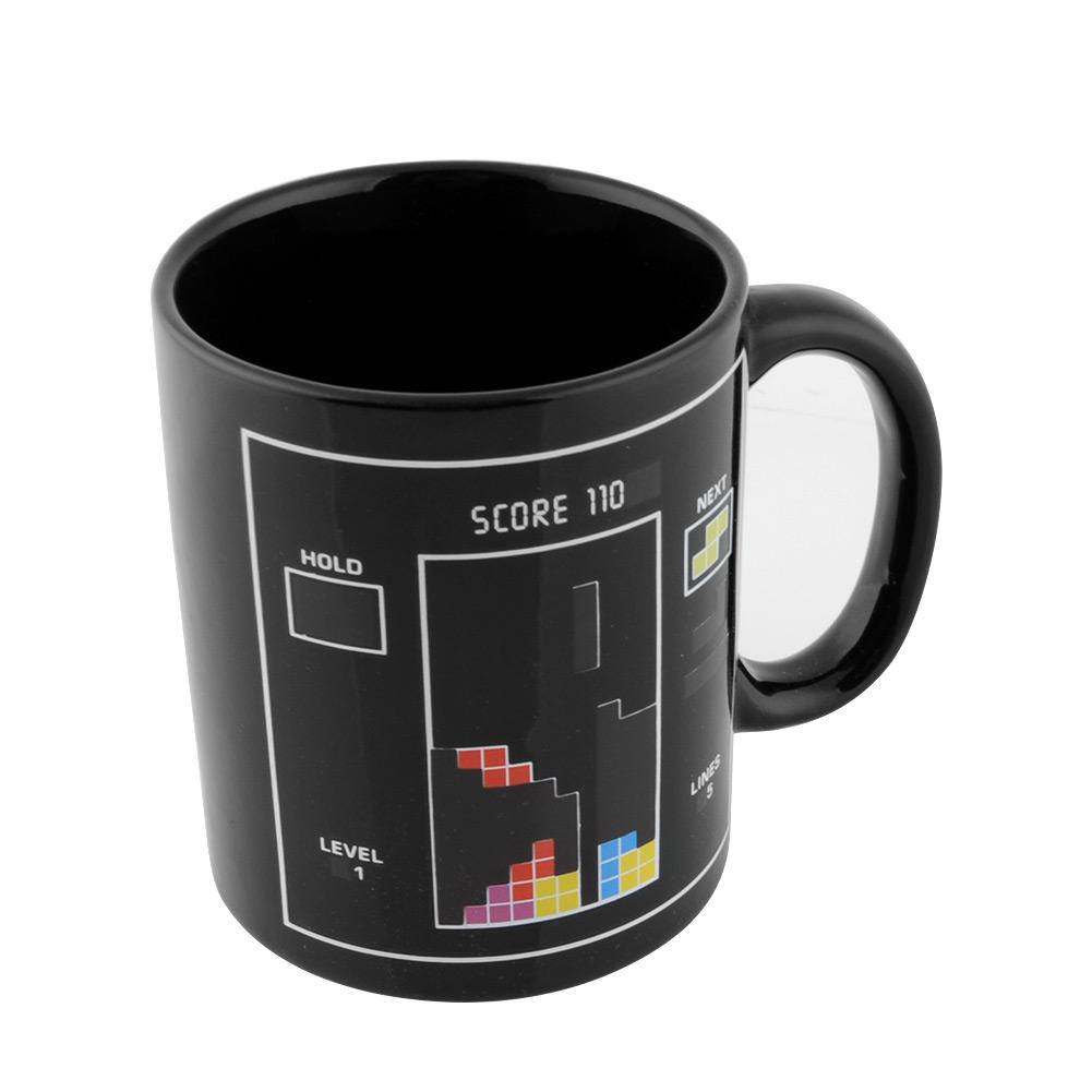 Block Pattern Magical Heat Sensitive Color Changing Ceramic Milk Mug Coffee Cup Free shipping(China (Mainland))