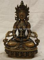 Tibet Tibetan Buddhism Bronze seat Amitayus longevity God Goddess Statue