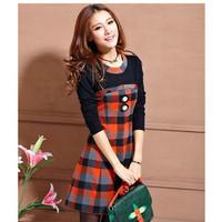2015 Women winter casual dress Korean spring temperament Slim thin long-sleeved fashion plaid bottoming dress
